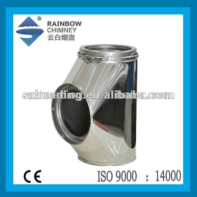 Ce double wall stainless steel degree chimney tube tee