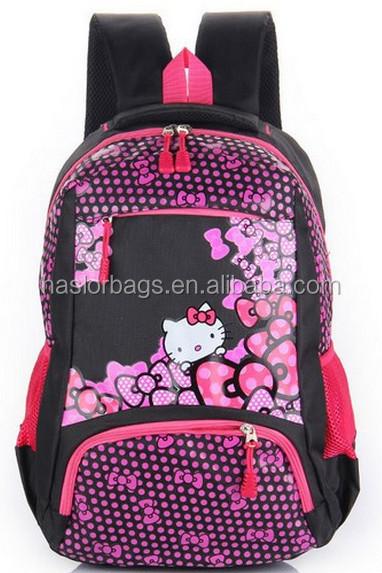 Conception de bande dessinée de chat sac d'école pour les filles