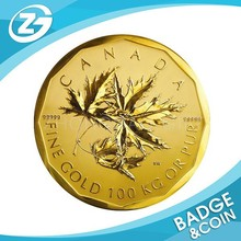 Wholesale Canada Gold Plated Metal Maple Leaf Replica Coin