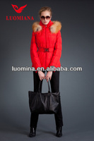 Short red women winter coats with fashion bowknot belt