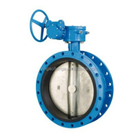 Manual pneumatic electric dubble flange connected rubber sealed butterfly valve