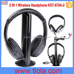 (KST-670A-2) 2 in 1 Mini Wireless Headphones For TV MP3 MP4 DVD CD VCD and FM Radio