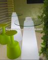 Diodo emissor de mesa com suporte de aço inoxidável, outdoor led de vidro de mesa