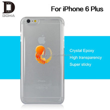Sticks on flat surface 100% transparent cover mobile phone epoxy