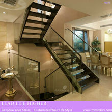 Modern House Glass Railing Indoor Wood Stairs