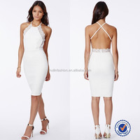 2015 halter club dress for sexy ladies/backless white dresses for women
