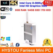Intel Core i3 5005u Windows/Linux Mini PC ITX Case Fanless Industrial Desktop WiFi 8G RAM 64G SSD 1TB HDD HTPC HDMI Media Server