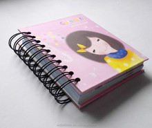 cute design paperback mini diary spiral notebook for kids / school supplies