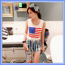 Charming american flag girl tassels t-shirt , wholesale american apparel