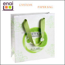 eco friendly bags printed gift paper bag with wid smooth polyester handle rope
