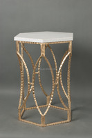 Luxury Iron Art Hexagonal Coffee Table With Marble Top, Home Decorated Golden End Table