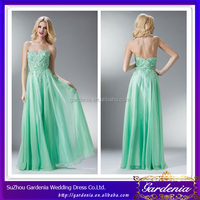 High Quality Lime Green Sheath Sweetheart Low Back Appliqued Beaded Bodice Long Chiffon Half Price Prom Dresses (AB0927)