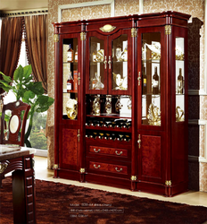 Home Antique whisky Wall Glass Shelf Wooden Led Display Cabinet With Wine Rack