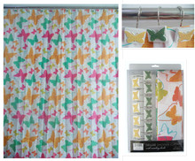 100%polyester printing butterfly shower curtains for 180*180CM