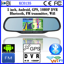 2015 CE RoHS 1080P DVR FM Wifi GPS Mirror 5.0 Inch Screen Android For Seat Car Multimedia System