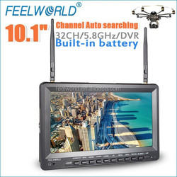 """10.1"""" battery powered 5.8ghz wireless video transmitter receiver fpv monitor rc helicopter with DVR"""