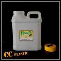 1L 2L white hdpe plastic bottle container package for honey milk with wide mouth handle