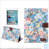 Flower cloth pattern pu wallet leather case cover for ipad mini 4