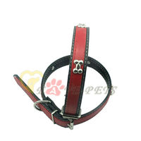 Fashion Design Metal Bone with PU Red & Black Pet Dog Collar Metal Button Drop Shipping Factory Produce Wholesale C2033