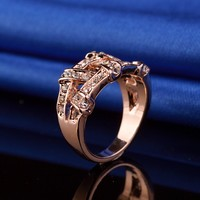 100% Hand Made Europe America Big Brand Luxury 18K Rose Gold Engagement Ring CZ Weave Women Vintage Party Cocktail Ring