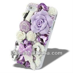 Luxury 3D diamond crystal rhinestone anna sui Rose Sharp Bling Rhinestone Diamond Hard Back Phone Case Cover for iPhone 4 4S