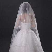 summer 2015 hot sale lace appliques wedding veil flower two layer bridal long veils