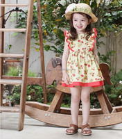 pinkideal The new children's wear in the summer Children dress Environmental protection printing princess dress skirt of the gi