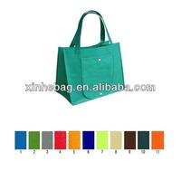 OEM design green color shopping non woven tote bag