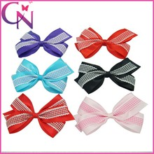 New Arrival Double layers Satin Ribbon Plaid Western Beautiful Hair Bow With Clip For Girls (CNHBW-201306021)