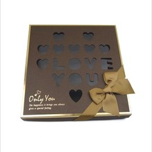 Hot selling handmade high quality luxury paper chocolate box packaging box with bow chocolate box for birthday