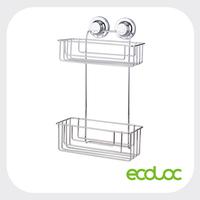 ECOLOC Suction cup bathroom rack, double tier bathroom shelf