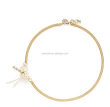 Acrylic golden chain butterfly shape pearl pendant necklace