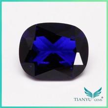 Wholesale Wuzhou Gemstone Ruby Processing Blue Synthetic Square Semi Precious Sapphire Corundum Stone