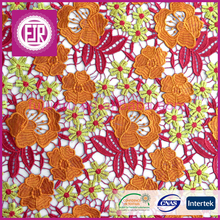 2016 Multi color flower chemical african guipure lace / factory price nigerian cord lace / hot selling french swiss voile lace