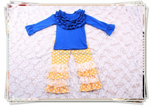 party kids outfits new arrival ruffles shirts and ruffle pants 2pcs children fall outfits girls boutique clothing