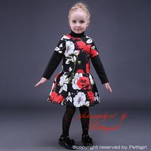 de la muchacha de vacaciones vestidos manga corta una línea de niños traje de la flor del o-cuello de los niños