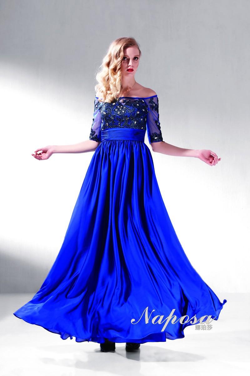 2014 Bordado azul real vestidos de noche largos glamorosa con media manga