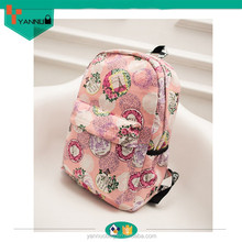 latest product preppy leisure fashion designer colorful young girls floral print canvas backpack bag for cheap wholesale