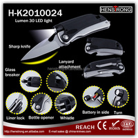 Multi function Hand Tools Stainless Steel Camping Knife With LED and whistle