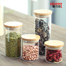 Wholesale different size glass storage jars for kitchen and glass bottle