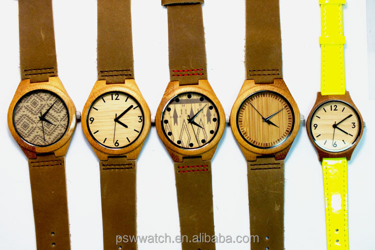 Genuine leather bamboo watch quartz movt bamboo watch men