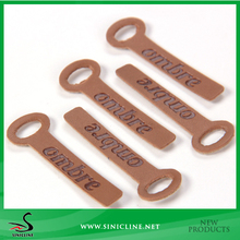 Sinicline PU Leather Zipper Puller For Garment and Bag With Logo Emboss