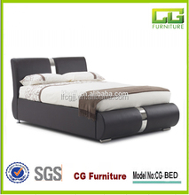 modern comfortable leather sleigh bed
