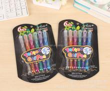 Glitter Gel pen tattoo gel pen-6 colors in blister card