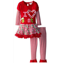 C66730A korean style warm winter thick sets for kids christmas lovely suits