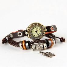 New fashion lover gift luxury vintage genuine leather charm women charm watch