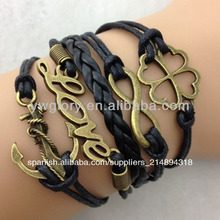 Moda pulsera de cuero, cuerda con nudos pulsera de cuentas