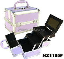 Purple aluminum cosmetic case with 2 trays and one mirror inside,different color options