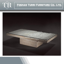 luxury furniture glass top in-lay hand-carved marble rectangle coffee table