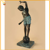 Folk Art Interior Decoration Bronze Boy On A Ball Sculpture For Sale